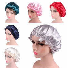 Load image into Gallery viewer, Satin Lace Sleeping Hat Night Sleep Cap Hair Care Satin Bonnet Caps Nightcap For Women