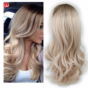 MyHairToppers Long 2 Tone Ombre Brown Ash Blonde Temperature Synthetic Wigs For Black/White Women Glueless Wavy Daily/Cosplay Hair Wig