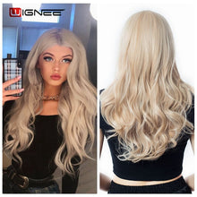 Load image into Gallery viewer, MyHairToppers Long 2 Tone Ombre Brown Ash Blonde Temperature Synthetic Wigs For Black/White Women Glueless Wavy Daily/Cosplay Hair Wig