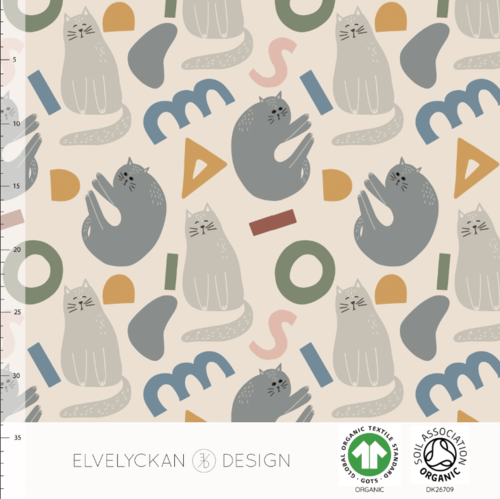 Cats n Shapes in Creme - College Fabric (French Terry / Sweatshirt Knit) - Organic Knit - Elvelyckan Design
