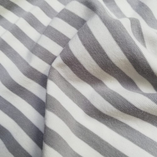 8mm Double Sided Light Gray & Off White Stripes - Jersey Knit Fabric - Olabela