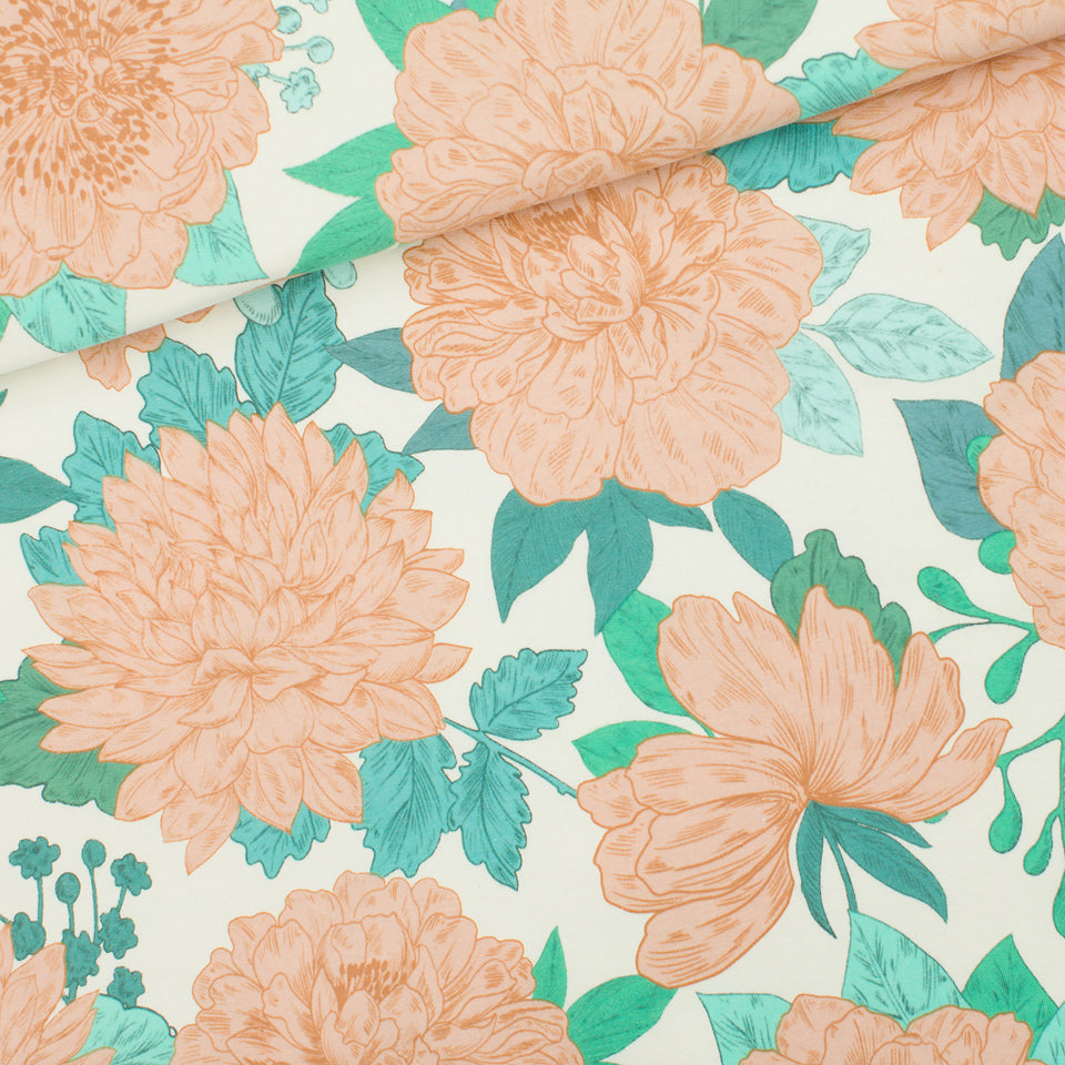 Peonies - French Terry Fabric - Sea Salt White - See You at Six