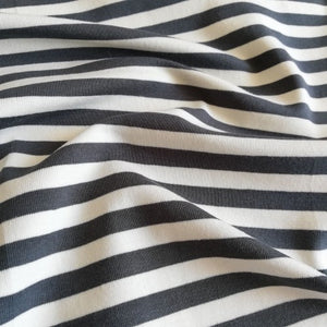 8 MM Double Sided Anthracite and Off White Stripes - Jersey Knit Fabric - Olabela