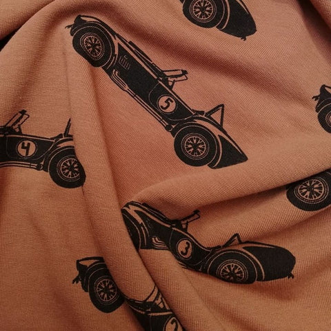 Racing Cars - Caramel Cafe - French Terry Fabric - Olabela