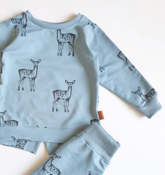 Deers - Dusty Blue - Sweatshirt Knit Fabric - Olabela