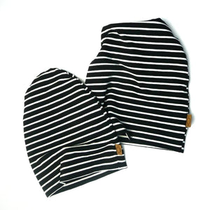Black and Off White Stripes  - Jersey Knit Fabric - Olabela