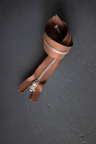 Zipper - 30 cm - Tan and Nickel