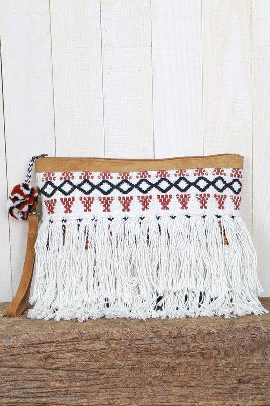 Love Stitch Hand Embroidered Fringe Clutch