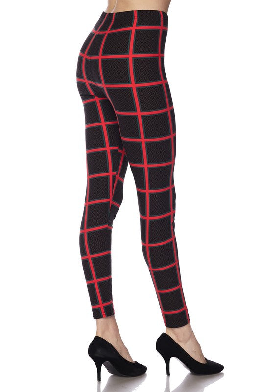 Adult Mosaic Check Print Brushed Leggings