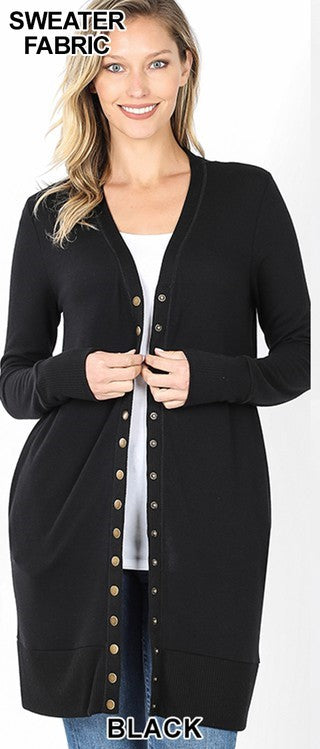 Thigh Length Snap Button Cardigan