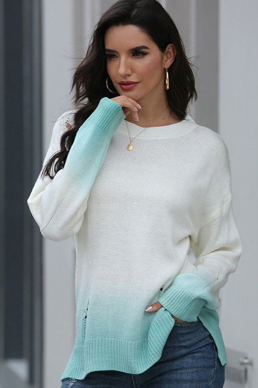 Cool Mint Slouchy Fit Sweater