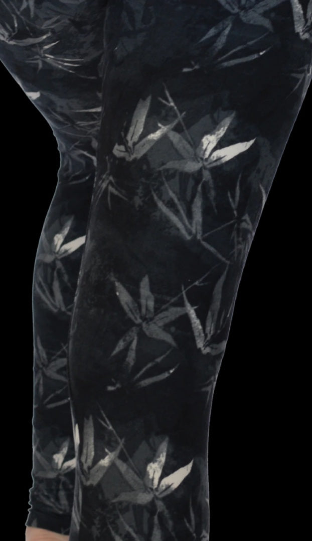 Adult Black Bamboo Print Leggings