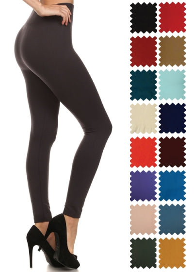 Solid Color Fleece Lined Leggings