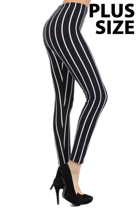 Adult Stripe Black And White Leggings