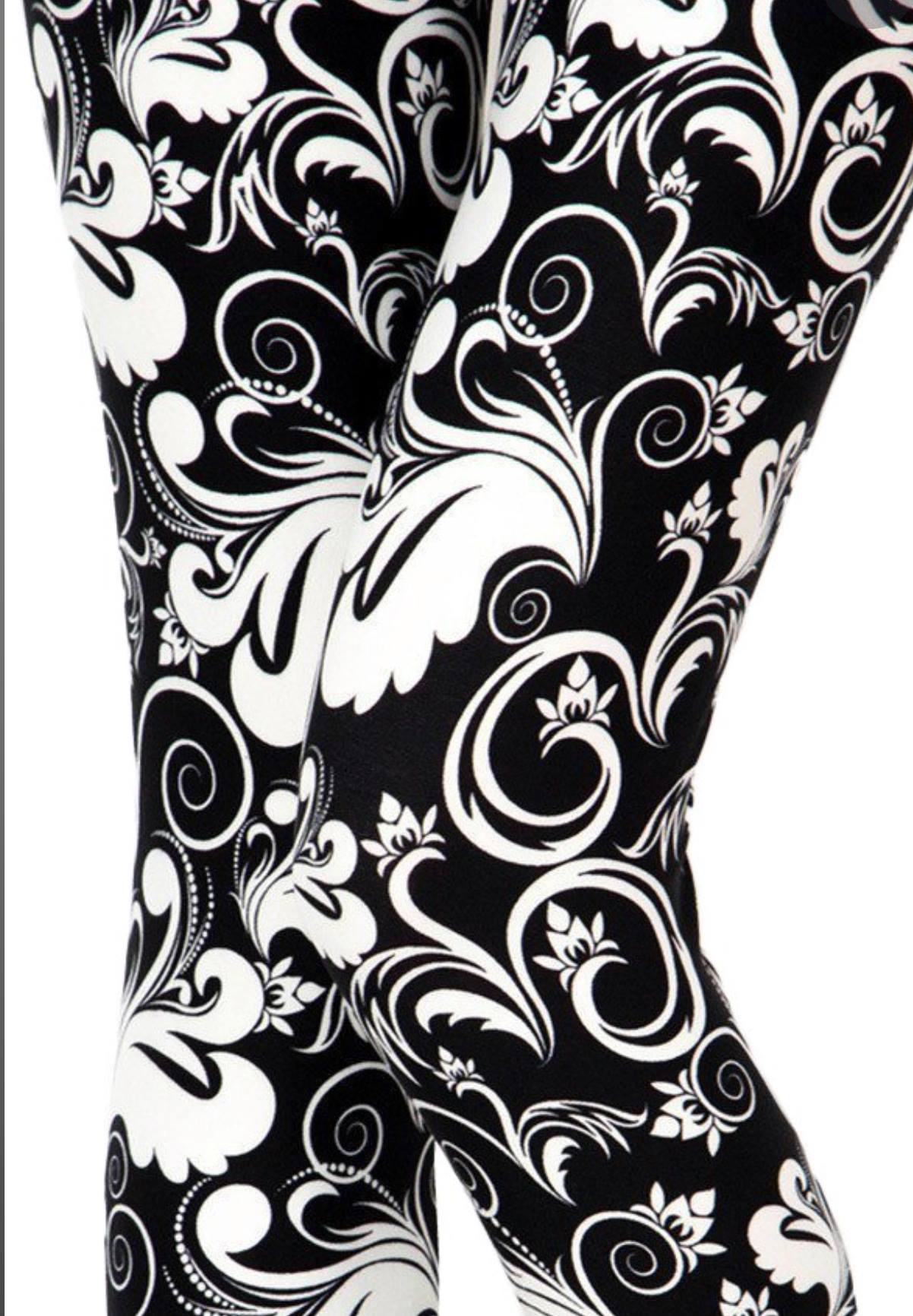 Adult Black And White Scrolls Leggings