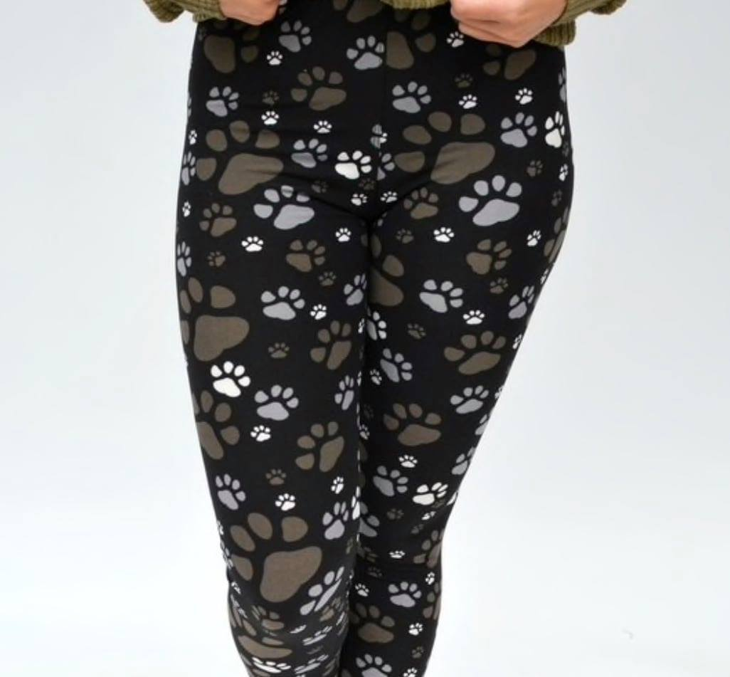 Adult Muddy Paw Print Leggings
