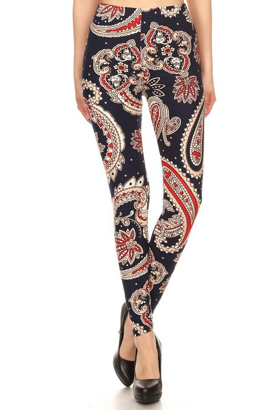 Adult Blue And Red Floral Paisley Leggings