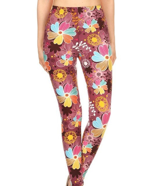Kid's Multi Floral Print Leggings