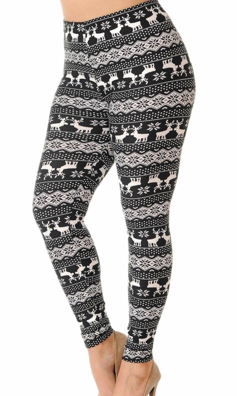 Adult Black N White Reindeer Christmas Legging