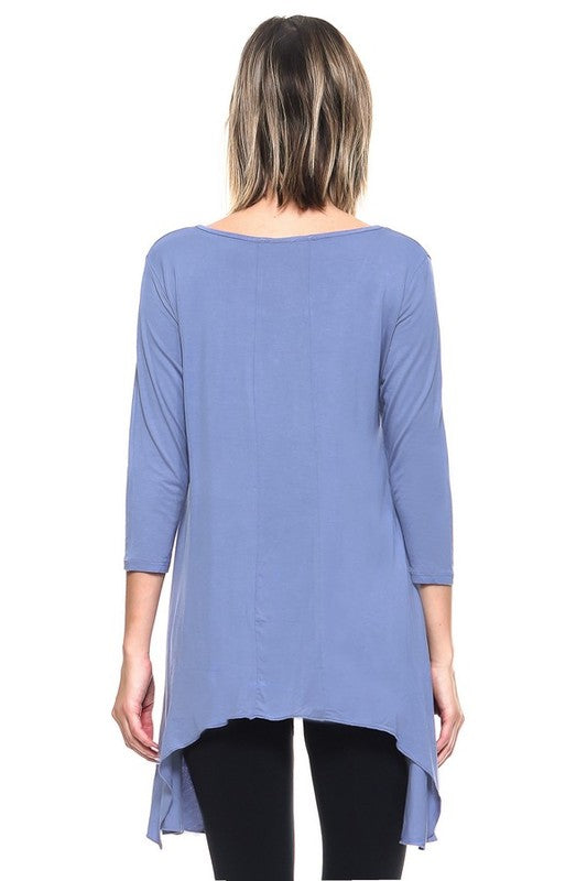 3/4 Sleeve Asymmetrical Sharkbite Hemline Tunic Top