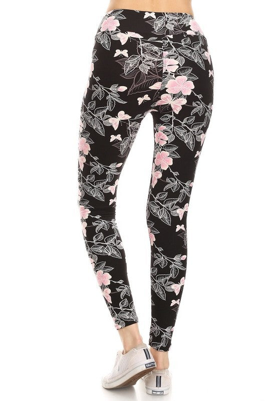Adult Butterfly Dreams Pink Butterflies with Yoga Waistband leggings