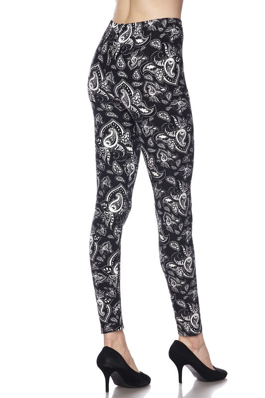 Adult Black And White Paisley Print Leggings