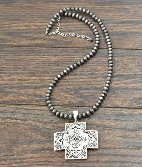 Aztec Cross Pendant, Necklace