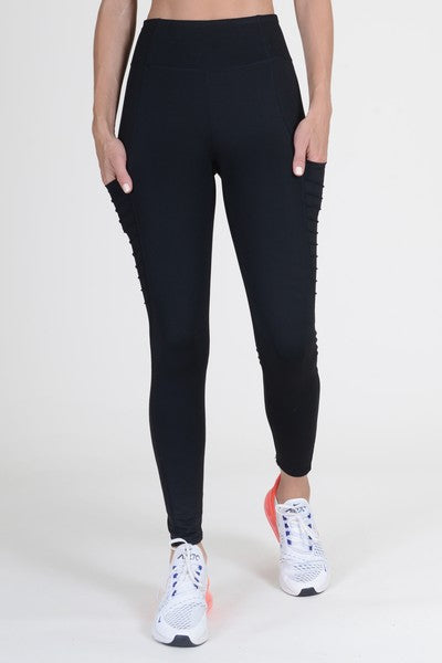 Women's High Waist Mesh Leggings with Moto Pockets