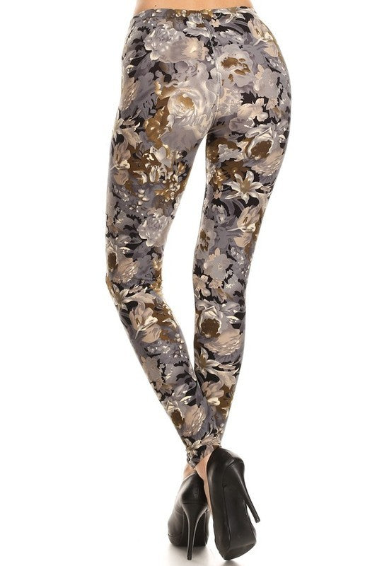 Adult Fall Flower Print Leggings