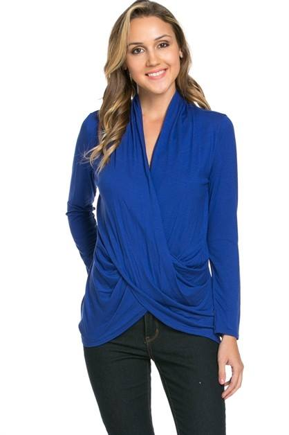 Long Sleeve Criss Cross Draped Front Top