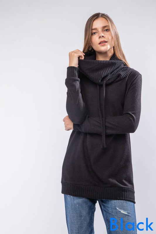 Long-sleeve fleece hacci cowl-neck top