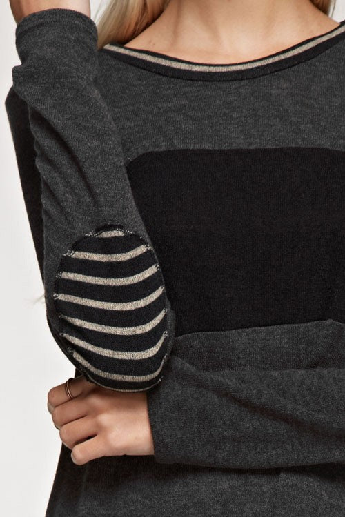 Striped elbow patch and color block point Top