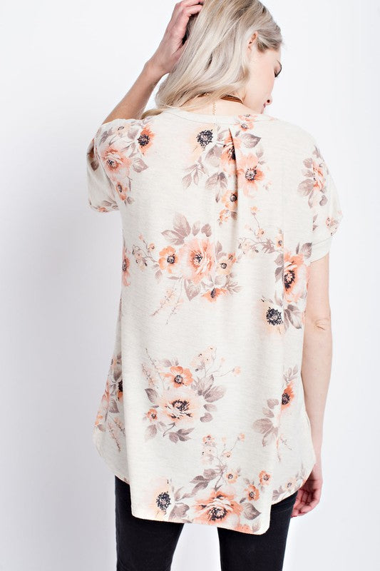 French terry floral short sleeves V-neck Top