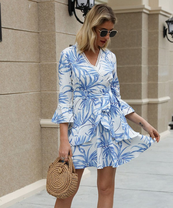 Blue and White Short Wrap Dress