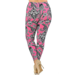 Adult Soft Vibrant Fuchsia Pink Paisley  Leggings