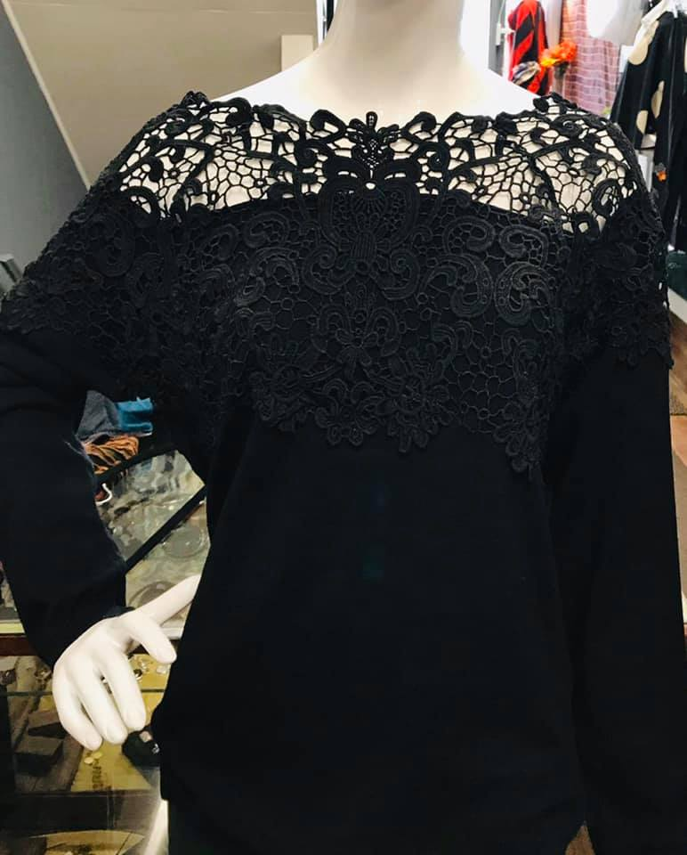 Lace Shoulder Sweater