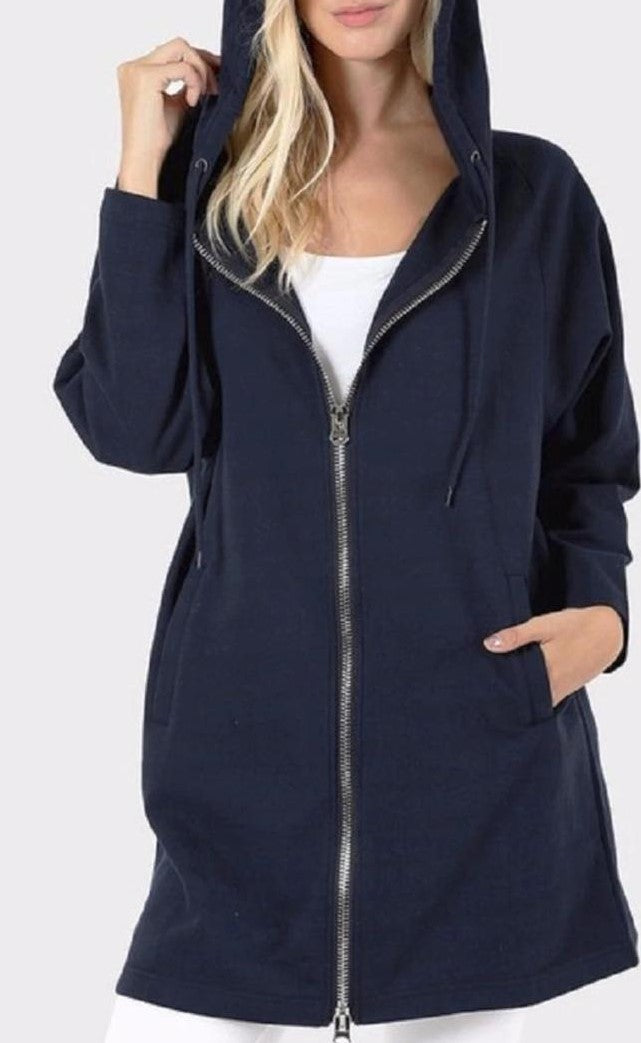 Navy Long Double Zip Hoodie