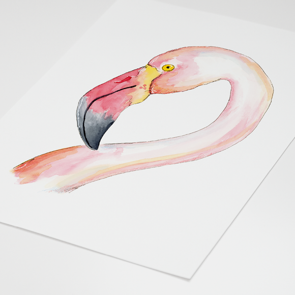 Postkaart - Aquarell Flamingo