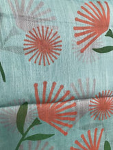 Load image into Gallery viewer, Close up of aqua scarf with terracotta flowers