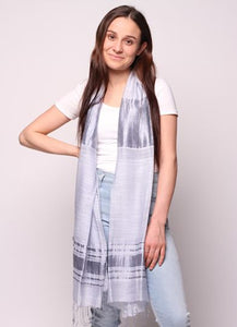 Woman wearing grey alloy scarf