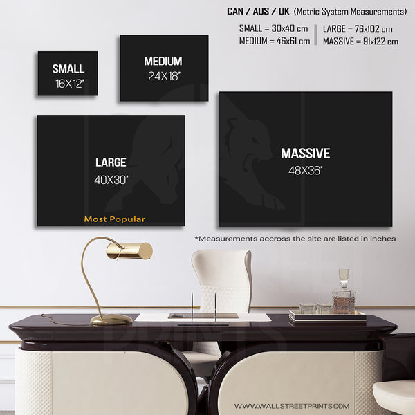 horizontal size guide for canvas art from wall street prints