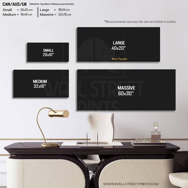 Money size guide for all rectangle shaped artwork from Wall Street Prints