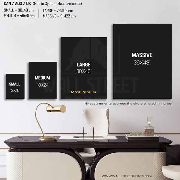 portrait size guide for canvas art from wall street prints
