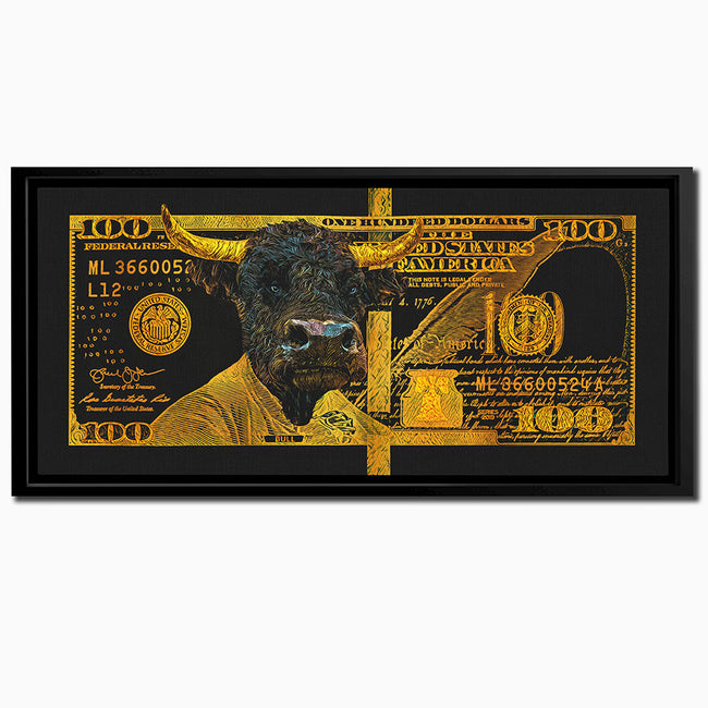 All Gold Hundred Dollar Bull | MONEY Artwork - Wall Street Prints