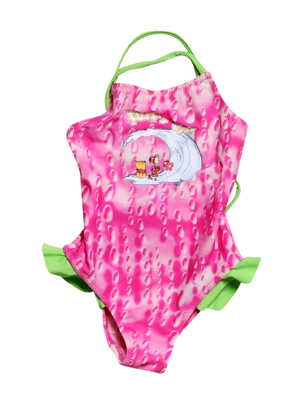 Front photo of Preloved Disney Pink Girl's swimsuit - size 12-18 mths