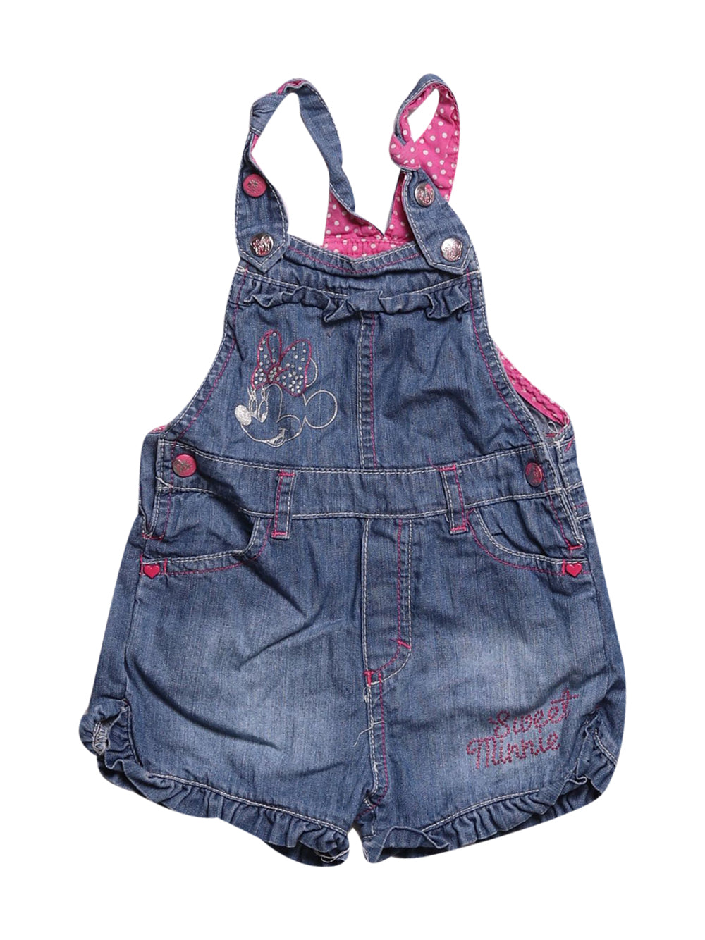 Front photo of Preloved Disney Blue Girl's overalls - size 18-24 mths