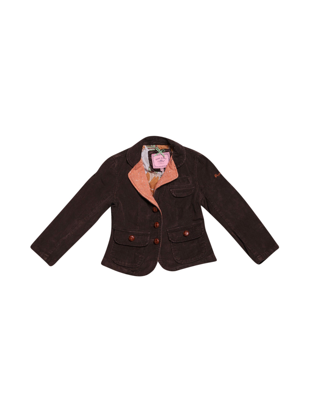 Front photo of Preloved Pepe Jeans Brown Girl's blazer - size 5-6 yrs