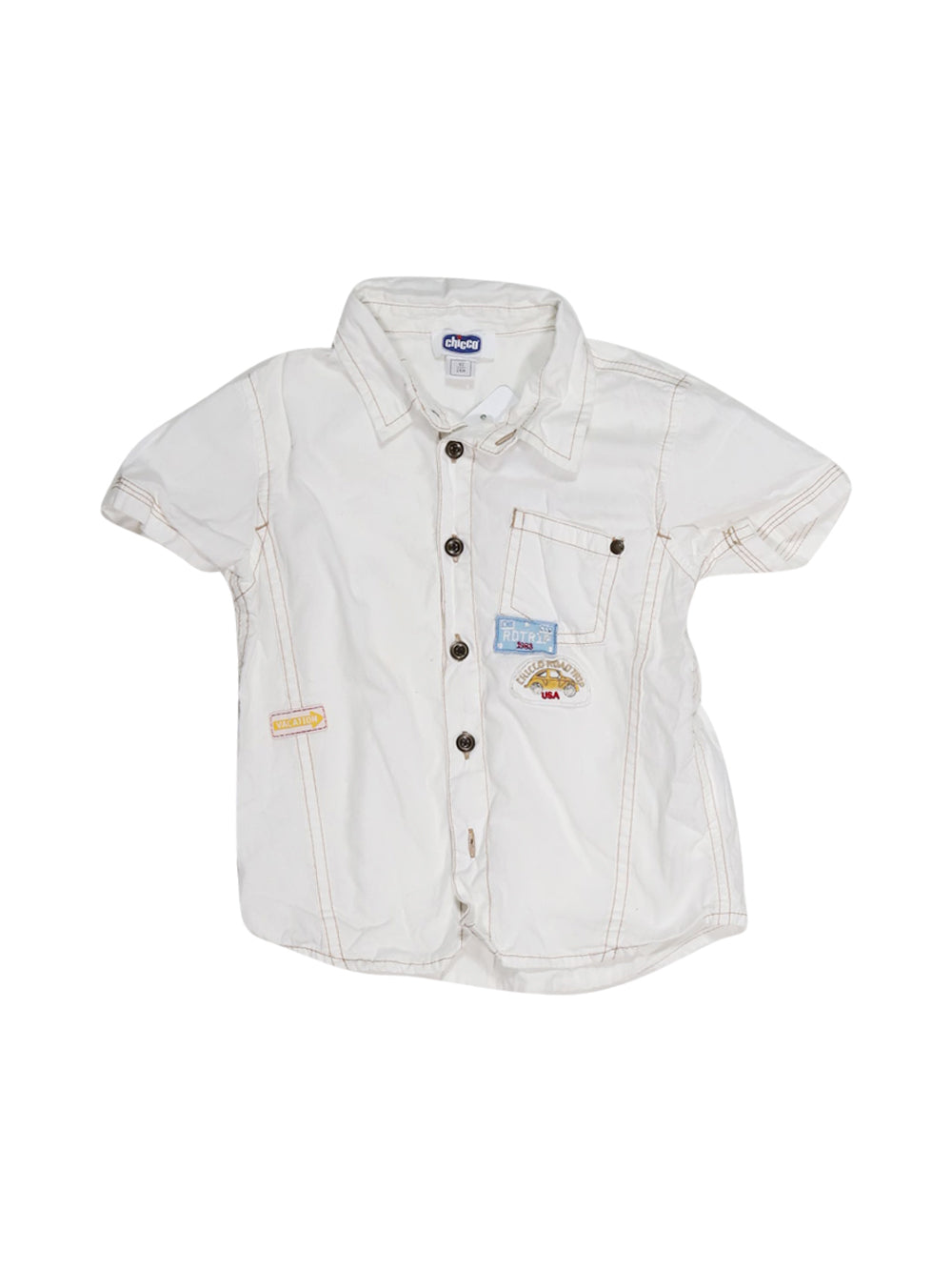Front photo of Preloved Chicco White Boy's shirt - size 18-24 mths