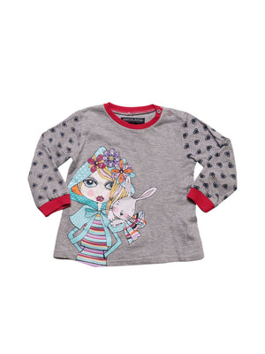 Detail photo of Preloved North Pole Grey Girl's sweatshirt - size 12-18 mths