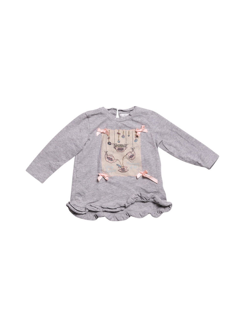 Front photo of Preloved Gaialuna Grey Girl's long sleeved shirt - size 12-18 mths